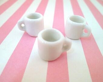 White Porcelain Coffee Cup Charms, miniature teacups #192