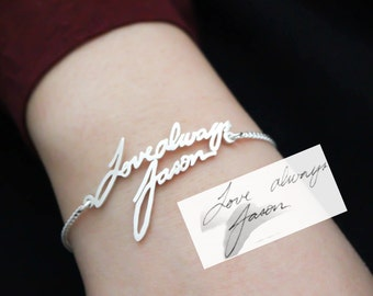 Signature Bracelet - Handwriting Bracelet - Memorial Personalized Jewelry - Bridesmaid Gift - Wedding Jewelry - Mother Gift