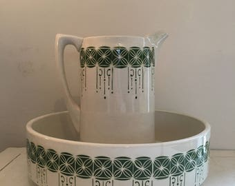 Vintage toilet bowl and pitcher