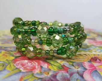 Stacked Bracelet, Wrap Around Bracelet, Sparkly Green Jewelry, Adjustable Memory Wire, Multistrand Bracelet, Coil Stack Bangles