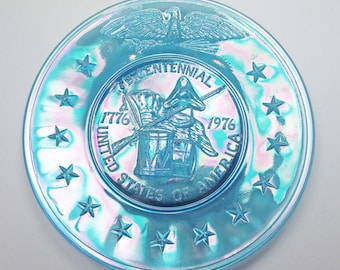 Vintage-Collectible-1976 Commemorative Plate-Blue-Glass-Home Decor-Unique-Gift-Birthday-Birthday Gift-Anniversary Gift-Housewarming Gift