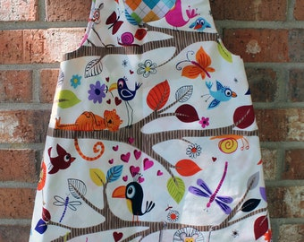 Bird Wildlife Zoo Lion Animal Reversible Argyle Girl's Toddler Dress Size 4T Ready to Ship