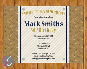 Surprise Birthday Masculine Invite Diamond Plated Gold Blue Tool Mechanic Themed Surprise 20th 30th 40th 50th 60th Invitation (240)