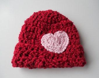 Red Baby Beanie with heart - Baby Beanie - Baby Girl Beanie Hat - Handmade Crochet - Ready to Ship