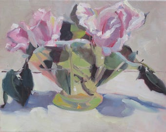 abstract , impressionistic still life , oil painting  , pink , rose , home decor , green , vase -11 x 14 , original ,  one of a kind , gift