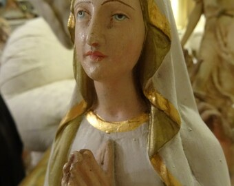 Vintage Stunning Virgin Mary French Statue with Dome