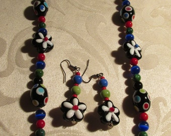 Black, Red,Green, and Blue Glass Bead Necklace and Earring Set (C188)