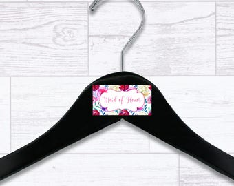 Floral Maid of Honor Wooden Hanger - Wedding Hangers - Bridal Hanger - Maid of Honor Gift - Wedding Gift - Wedding Supplies - HNGR0038