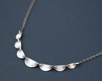 Silver Scallop Necklace, Sterling Silver Antiqued Scallop Necklace