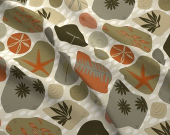 Fossil Collection Fabric - Fossil Collection By Sarahparr - Geology Fossils Rocks Archaeological Cotton Fabric By The Yard With Spoonflower