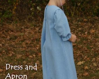 Amish Girls's Costume Dress Apron Capp Prayer covering White strings Bonnet