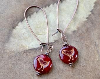 Red Bird Earrings, Bird Dangle Earrings, Long Bead Earrings, Bird Jewellery, Deep Red Earrings, Cute Earrings, Bird Gift Women, Gift Ideas
