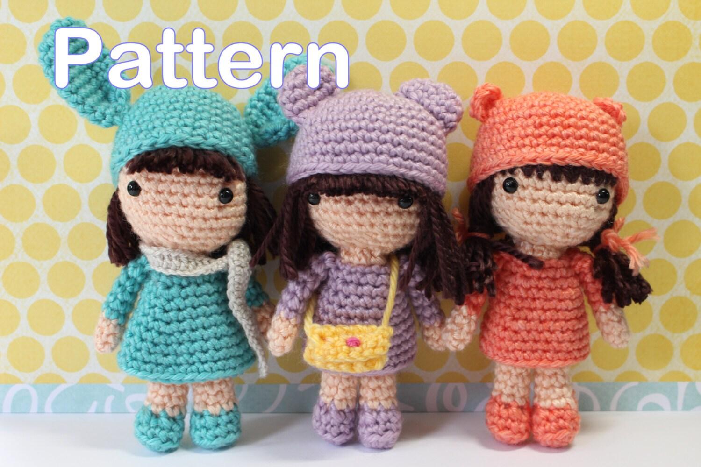 Amigurumi Bunny Pencil Holder : Crochet amigurumi cute mini girls dolls pdf pattern stuffed