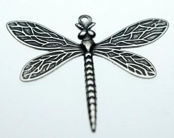 Trinity Brass Antique Silver Medium Dragonfly Charm Pendant
