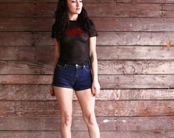 90s high waisted denim shorts - dark blue daisy dukes - high rise short shorts - hot pants - extra extra small xxs
