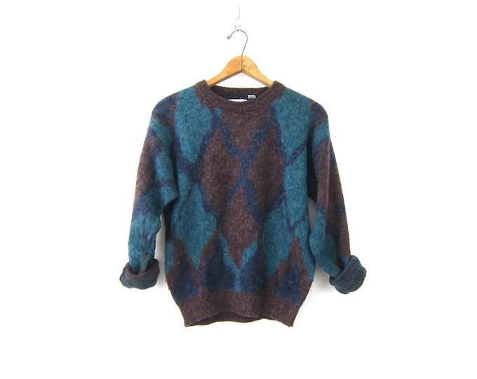 Blue Purple Colorblock Sweater 1980s Pullover Crewneck Sweater Graphic Knit Ski Sweater Retro Jumper Size Large XL