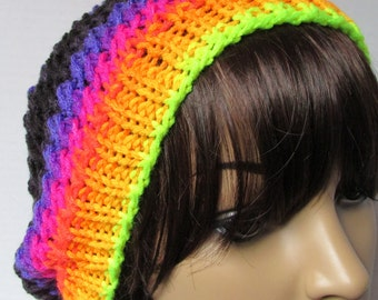 Lacy Slouchy Knit Beanie in Twilight Coloring