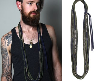Mens Necklace, Mens Jewelry, Necklace for Men, Gift for Boyfriend, Mens Scarf, Mens Gift, Gift for Men, Boyfriend Gift, Burning Man, Mens