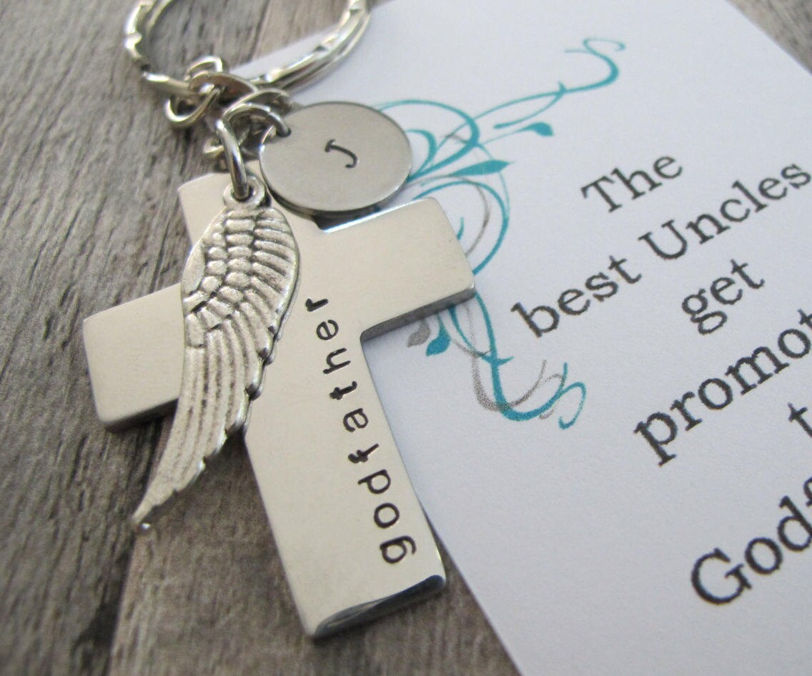 Godparent Keychain Gift For Godparents Gift For: Will You Be My Godfather Godfather Gift Godparent Gift