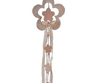 Handmade Wooden Lace & Rope Decorative Flower Charm