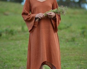GODDESS Dress Rust Khadi Earthy Clothing Ethereal Boho Organic Natural Hand Woven Tribal Clothing