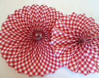 Gingham Decorations 2 Set Gingham Hanging Fans Baby Shower Pinwheels Birthday Decoration Picnic Red Gingham Decoration Birthday Backdrop