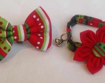Cat Collar Flower/Bow Tie Set - Holiday Dot-Stripe - Availlable In 3 Sizes
