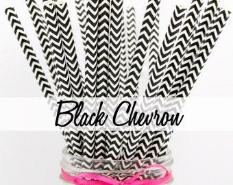 BLACK CHEVRON Paper Straws - Party Paper Straws - Wedding - Birthday Decorations