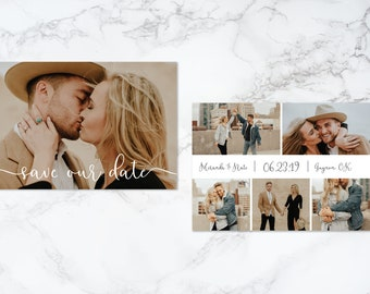 Carte-Photo imprimable Double face moderne Script texte Overlay Save the Date