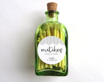 Corked Match Jar - Green Apothecary Bottle | Colored Matches | Crafted Labels | Candle Accessories | Gift Set | Home Decor