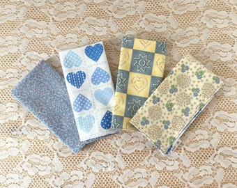 Blue & Yellow, Cloth Napkins, Set of 4, Large, Reusable, Reversible, Cotton, Hearts, Floral, Eco-Friendly