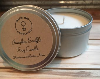 Pumpkin Souffle 8 oz soy candle tin, Autumn candle, Bakery scented candles, Fall scented hand poured soy candle tin, Boston handmade candle