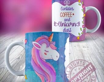 Licorne contient café et la poussière de licorne en céramique 11oz tasse à café thé de notre gamme de tasse en céramique