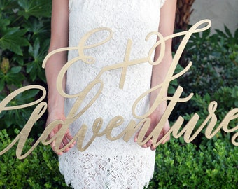 """Custom Large 40"""" Adventures Wedding Sign 