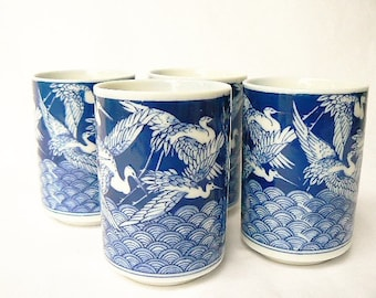 "Crowned Cranes Themed Tea / Sake Rice Wine Cups - Set of 4 Blue and White Ceramic Teacups - Flying Birds Motif Small Tumblers  3 1/4""x2 1/4"""
