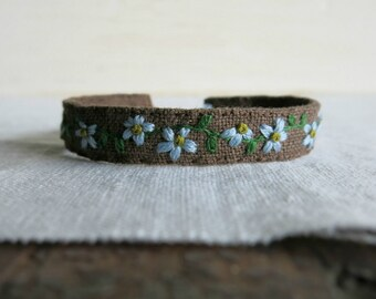 Floral Cuff Bracelet - Blue Flowers on Brown Linen Hand Embroidered Cuff Bracelet - Gift Under 50