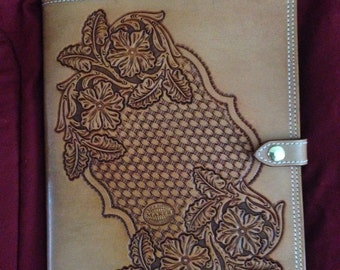 Hand tooled leather portfolio/notebook