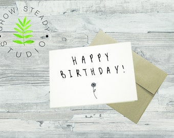 Tiny Flower Happy Birthday Card - Printable/Instant Download - A2 and A7