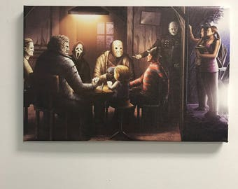 Freddy vs Jason, Chucky, Michael, Myers, Scream, Poker game, Texas chainsaw massacre, Canvas Art, Gift for him