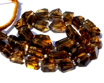 8 Inches - Genuine AAA Cognac Whiskey Quartz Step Cut  Faceted Nuggets Size 7x5 - 16x13mm Approx Finest Quality Wholesale price