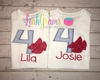 Wizard of Oz Ruby Red Shoes Applique Birthday Shirt