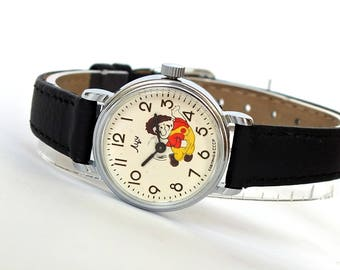 Kids watch LUCH (RAY). Girls watch with cartoon character Carlson. Vintage childrens wrist watch. Mechanical watch for kids. Gift for girl