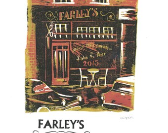 Farley's Hair Emporium Lino and Letterpress Print- Poster
