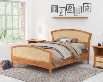 Wonderful Solid Wood Bed Frame Queen, King Or California King U2013 Handmade Walnut And  Curly Maple