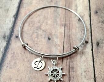 Ship's wheel initial bangle - ship's wheel jewelry, nautical jewelry, boat jewelry, ship wheel bracelet, boat bangle, ship wheel pendant