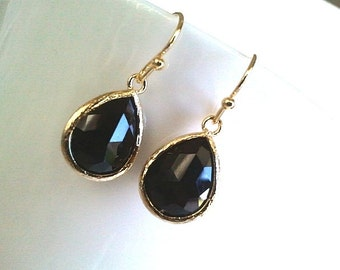 Black Onyx  long teardrop Gold Earrings,Drop, Dangle, bridesmaid gifts,Wedding jewelry - brides maid gifts, christmas gift, cocktail jewelry