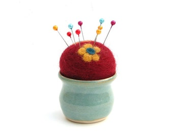 Needle Felted Pin Cushion with Flowers in Mini Ceramic Vase