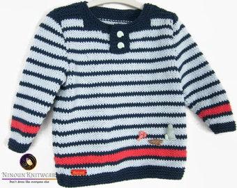 Hand - knit DEAUVILLE - Sailor style sweater t 2 years - vegan
