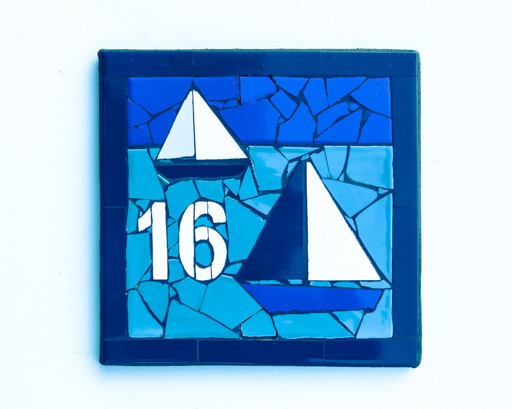 Outdoor house number mosaic house number ceramic tile house zoom dailygadgetfo Gallery
