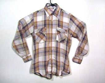 M | vintage mens Levis shirt Levis plaid shirt 70s Levis shirt 70s plaid shirt levis western shirt mens western shirt levis mens shirt